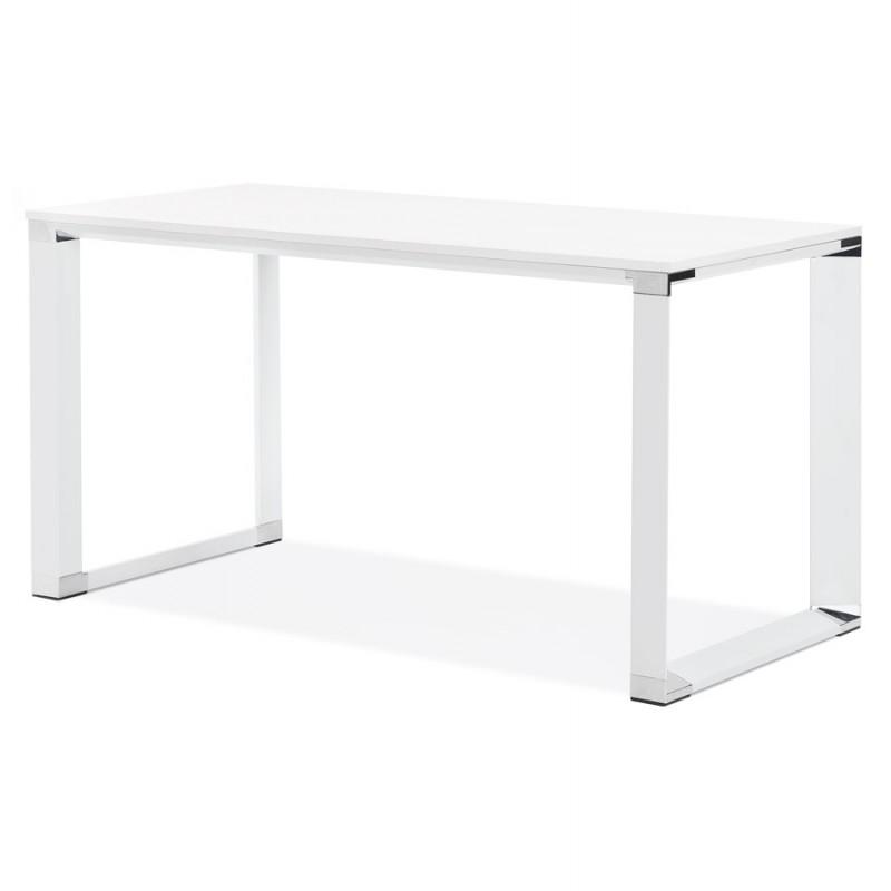 Bureau droit design en bois pieds blanc BOUNY (140x70 cm) (blanc) - image 49637