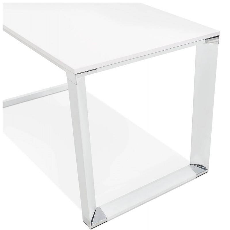 Bureau droit design en bois pieds blanc BOUNY (140x70 cm) (blanc) - image 49638