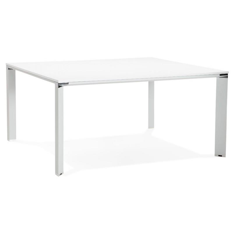 Bureau BENCH table de réunion moderne en bois pieds blanc RICARDO (160x160 cm) (blanc) - image 49655
