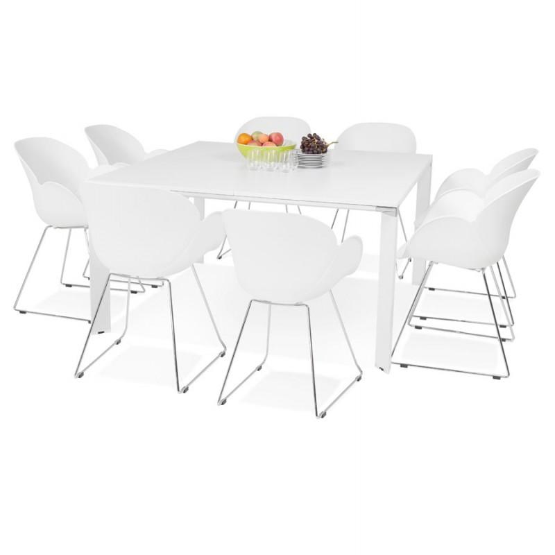 Bureau BENCH table de réunion moderne en bois pieds blanc RICARDO (160x160 cm) (blanc) - image 49664