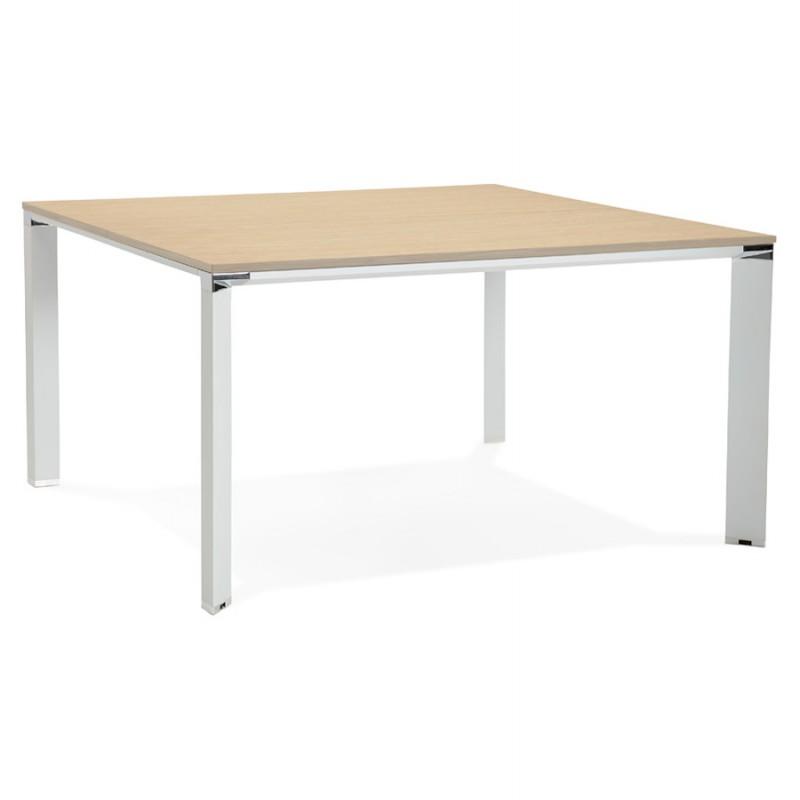 Bureau BENCH table de réunion moderne en bois pieds blancs RICARDO (140x140 cm) (naturel)