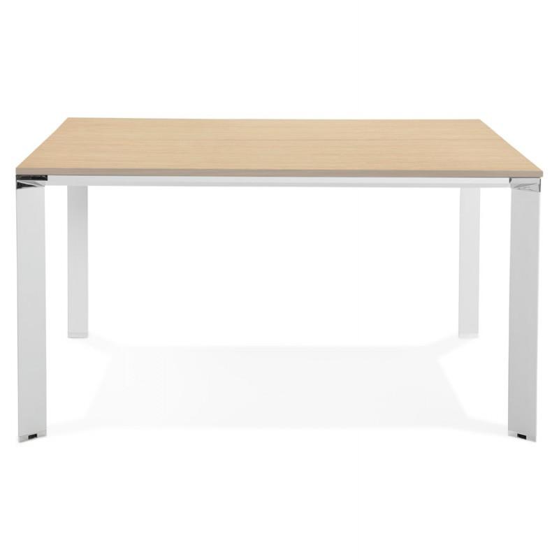 Bureau BENCH table de réunion moderne en bois pieds blancs RICARDO (140x140 cm) (naturel) - image 49678