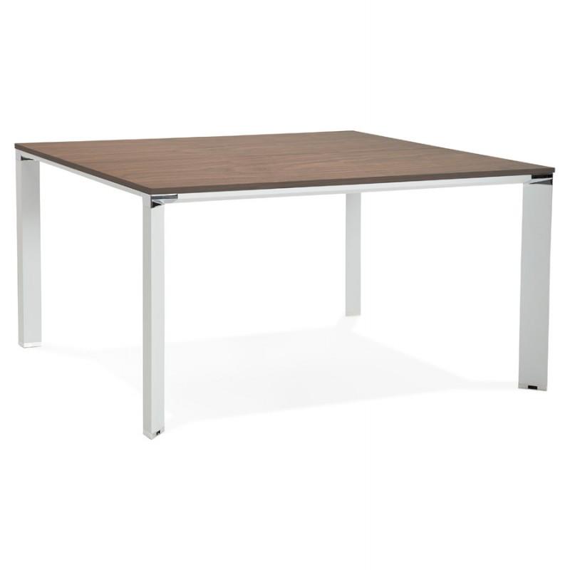 Bureau BENCH table de réunion moderne en bois pieds blancs RICARDO (140x140 cm) (noyer)