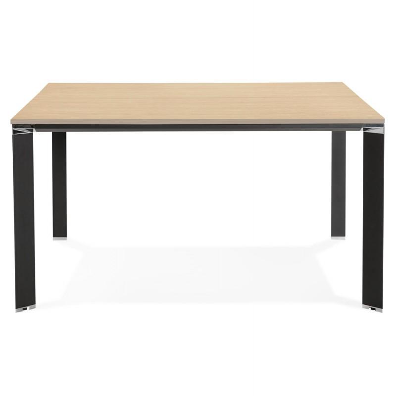 Bureau BENCH table de réunion moderne en bois pieds noirs RICARDO (140x140 cm) (naturel) - image 49688