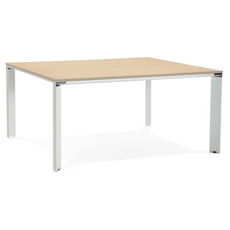 BENCH scrivania tavolo da riunione moderno piedi bianchi in legno RICARDO (160x160 cm) (naturale)