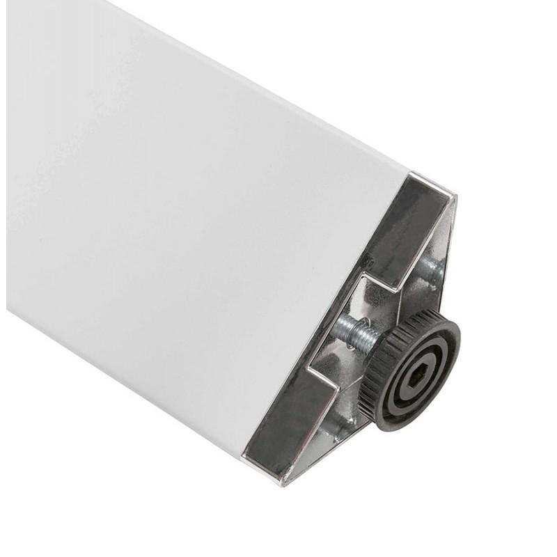 Bureau BENCH table de réunion moderne en bois pieds blancs RICARDO (160x160 cm) (noyer) - image 49708
