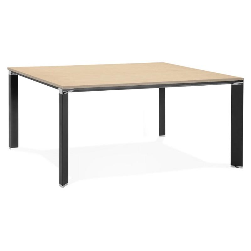 BENCH escritorio moderna mesa de reuniones pies negros de madera RICARDO (160x160 cm) (natural)