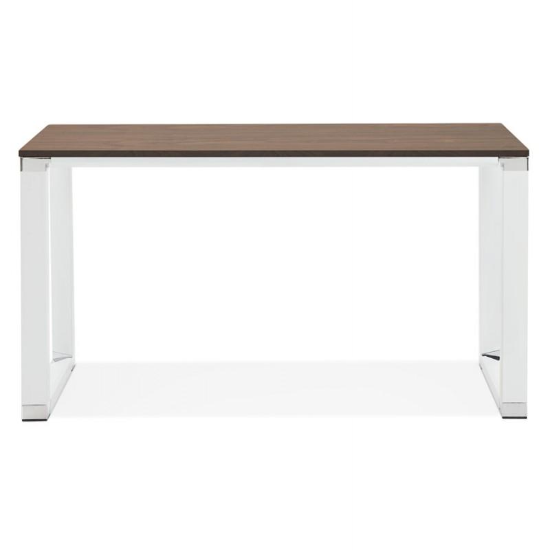 Bureau droit design en bois pieds blancs BOUNY (140x70 cm) (noyer) - image 49728