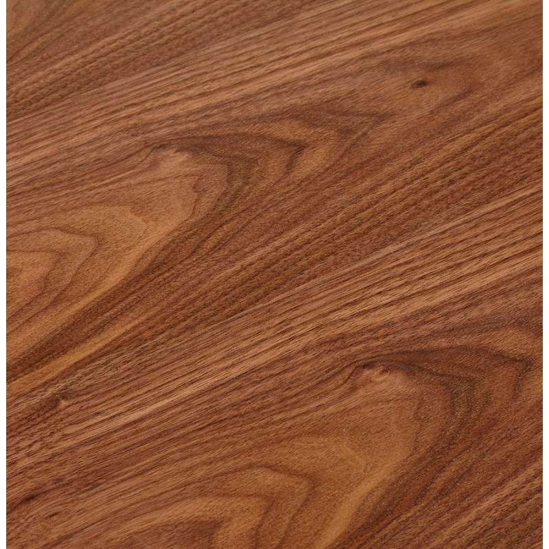 Bureau droit design en bois pieds blancs BOUNY (140x70 cm) (noyer) - image 49729