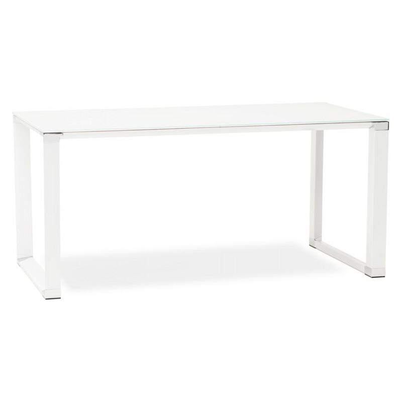 Scrivania destra design vetro imbevuto piedi bianchi BOIN (140x70 cm) (bianco)