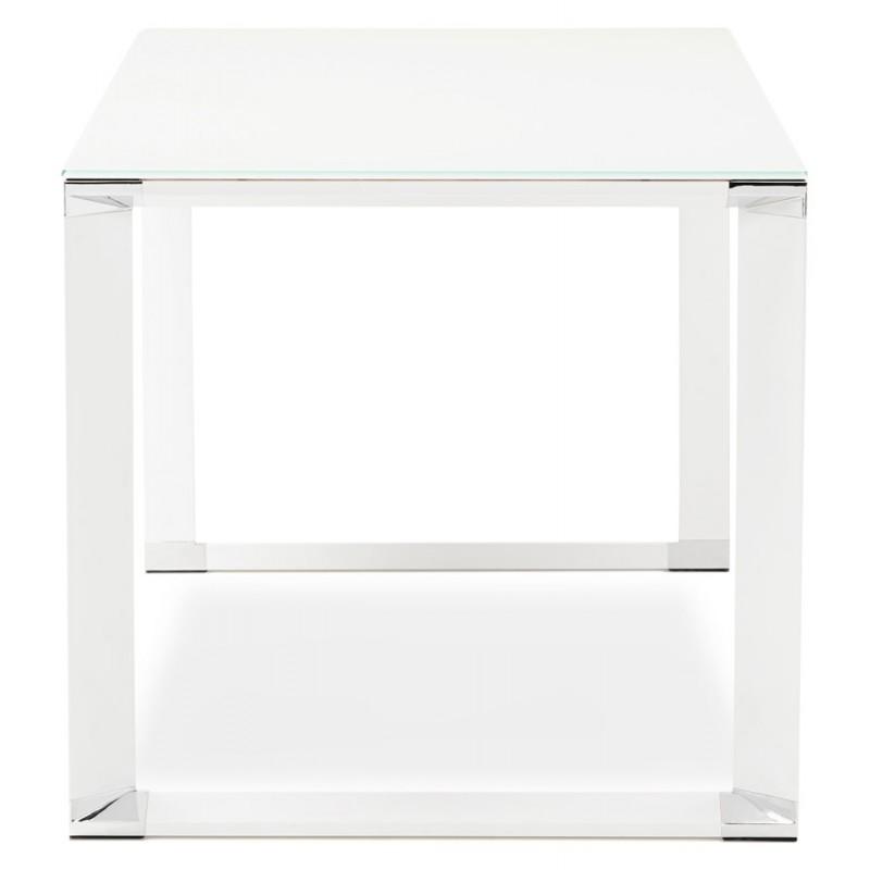 Bureau droit design en verre trempé pieds blancs BOIN (140x70 cm) (blanc) - image 49747