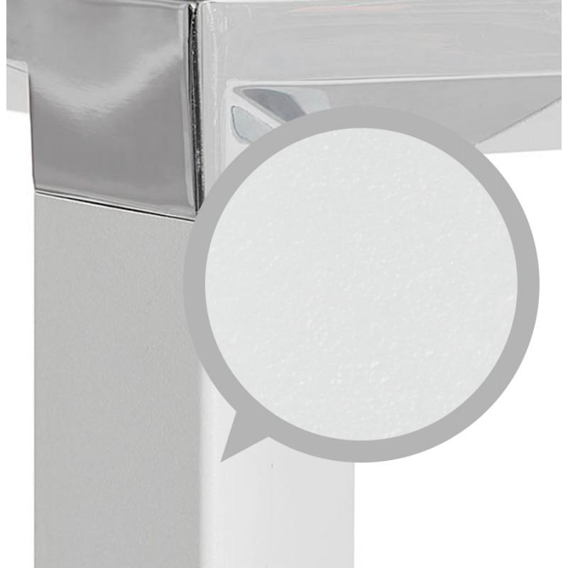 Bureau droit design en verre trempé pieds blancs BOIN (140x70 cm) (blanc) - image 49749