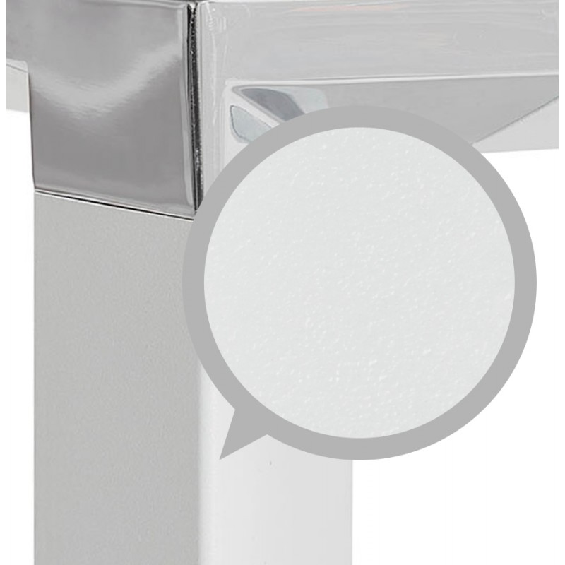 Scrivania destra design vetro imbevuto piedi bianchi BOIN (140x70 cm) (bianco) - image 49749