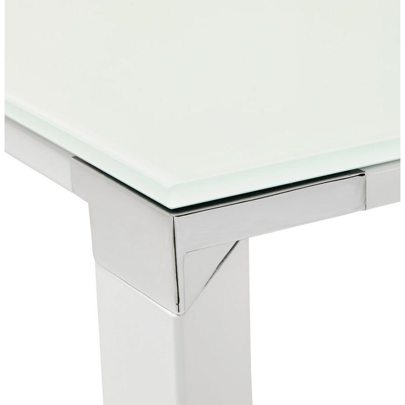 Bureau droit design en verre trempé pieds blancs BOIN (140x70 cm) (blanc) - image 49752