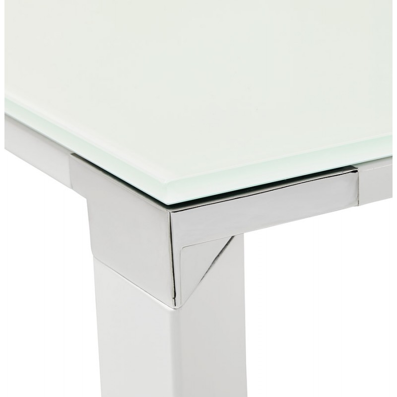 Right desk design glass soaked white feet BOIN (140x70 cm) (white) - image 49752