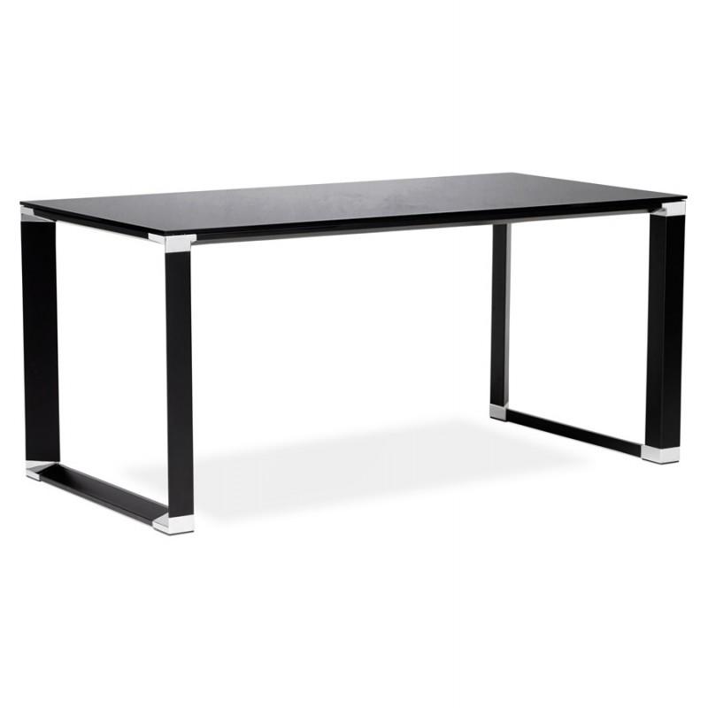 Bureau droit design en verre trempé pieds noirs BOIN (140x70 cm) (noir) - image 49758