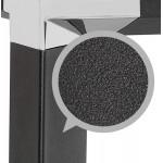 Bureau droit design en verre trempé pieds noirs BOIN (140x70 cm) (noir)