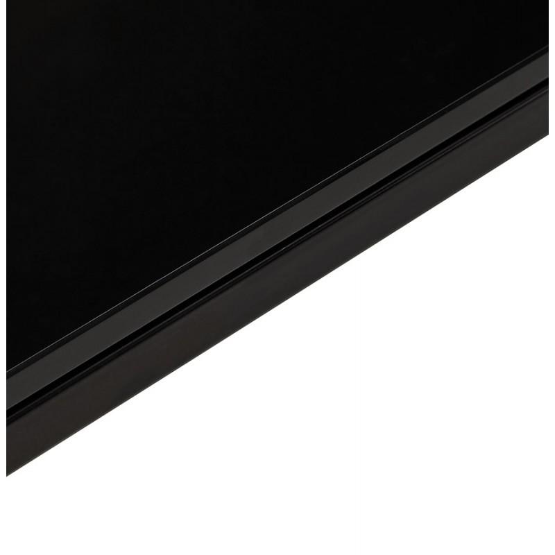 Bureau droit design en verre trempé pieds noirs BOIN (140x70 cm) (noir) - image 49761