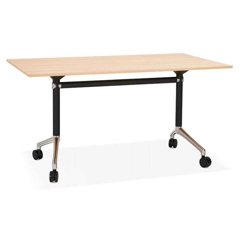 Table pliante sur roulettes en bois pieds noirs SAYA (140x70 cm) (finition naturelle)