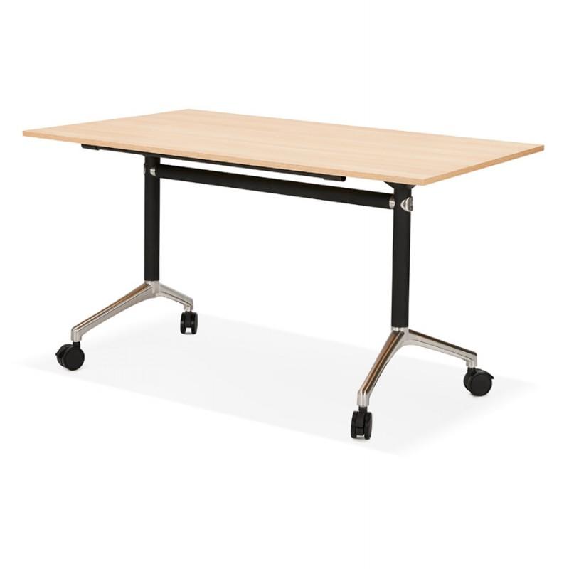 Table pliante sur roulettes en bois pieds noirs SAYA (140x70 cm) (finition naturelle) - image 49770