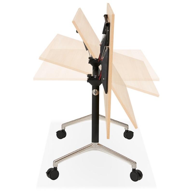 Table pliante sur roulettes en bois pieds noirs SAYA (140x70 cm) (finition naturelle) - image 49772