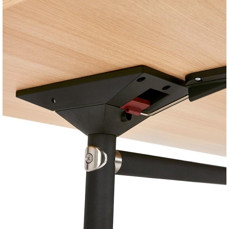 Table pliante sur roulettes en bois pieds noirs SAYA (140x70 cm) (finition naturelle) - image 49776