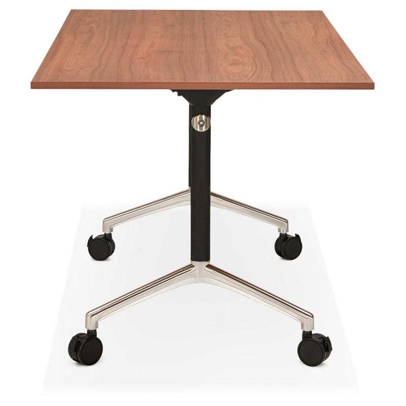 Table pliante sur roulettes en bois pieds noirs SAYA (140x70 cm) (finition noyer) - image 49782