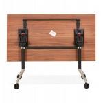 Table pliante sur roulettes en bois pieds noirs SAYA (140x70 cm) (finition noyer)