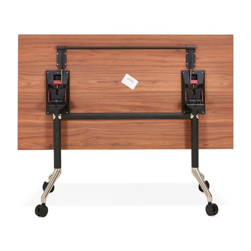 Table pliante sur roulettes en bois pieds noirs SAYA (140x70 cm) (finition noyer) - image 49784