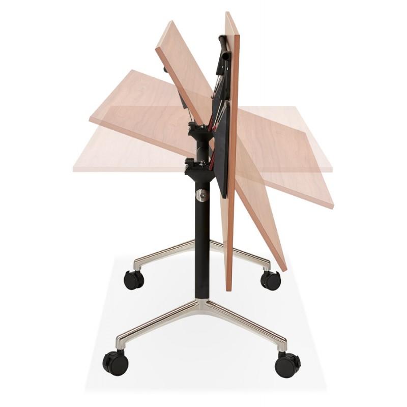 Table pliante sur roulettes en bois pieds noirs SAYA (140x70 cm) (finition noyer) - image 49785