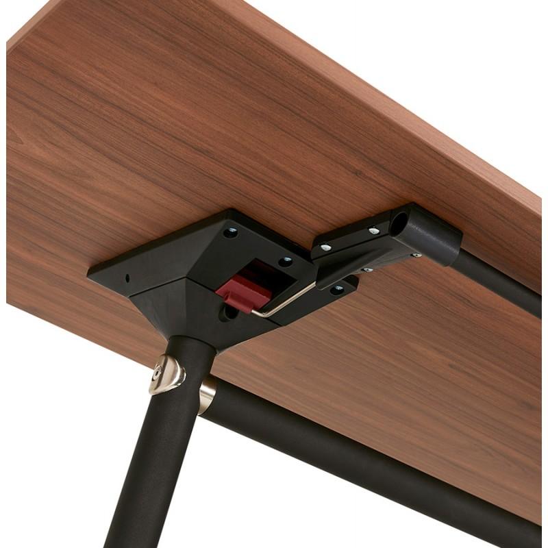Table pliante sur roulettes en bois pieds noirs SAYA (140x70 cm) (finition noyer) - image 49789