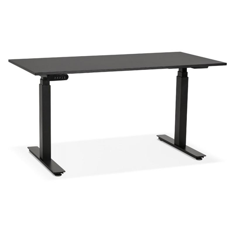 Bureau assis debout électrique en bois pieds noirs KESSY (140x70 cm) (noir)