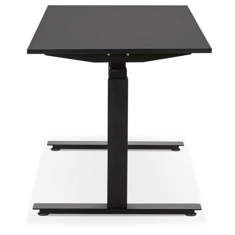 Bureau assis debout électrique en bois pieds noirs KESSY (140x70 cm) (noir) - image 49795