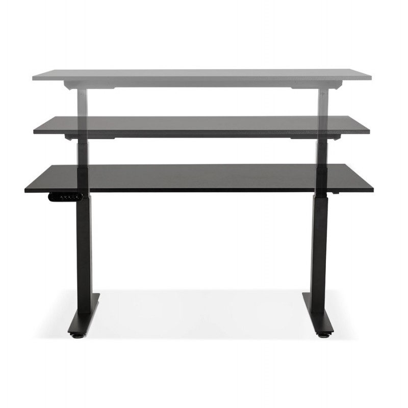 Bureau assis debout électrique en bois pieds noirs KESSY (140x70 cm) (noir) - image 49797