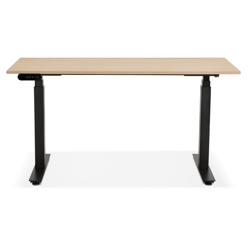 Bureau assis debout électrique en bois pieds noirs KESSY (140x70 cm) (finition naturelle) - image 49802