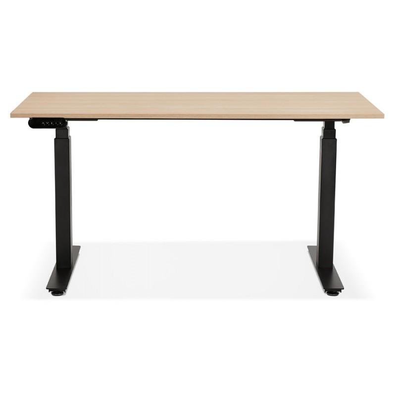 Steh-Steh schreibtisch aus Holz-Schwarze Füße KESSY (140x70 cm) (naturbeschichtete) - image 49802