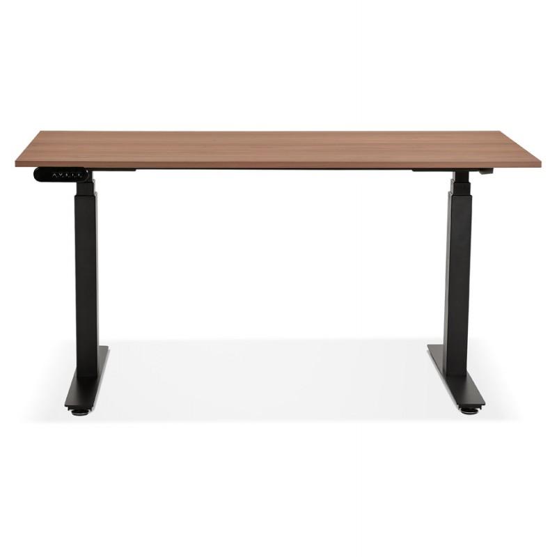 Bureau assis debout électrique en bois pieds noirs KESSY (140x70 cm) (finition noyer) - image 49810