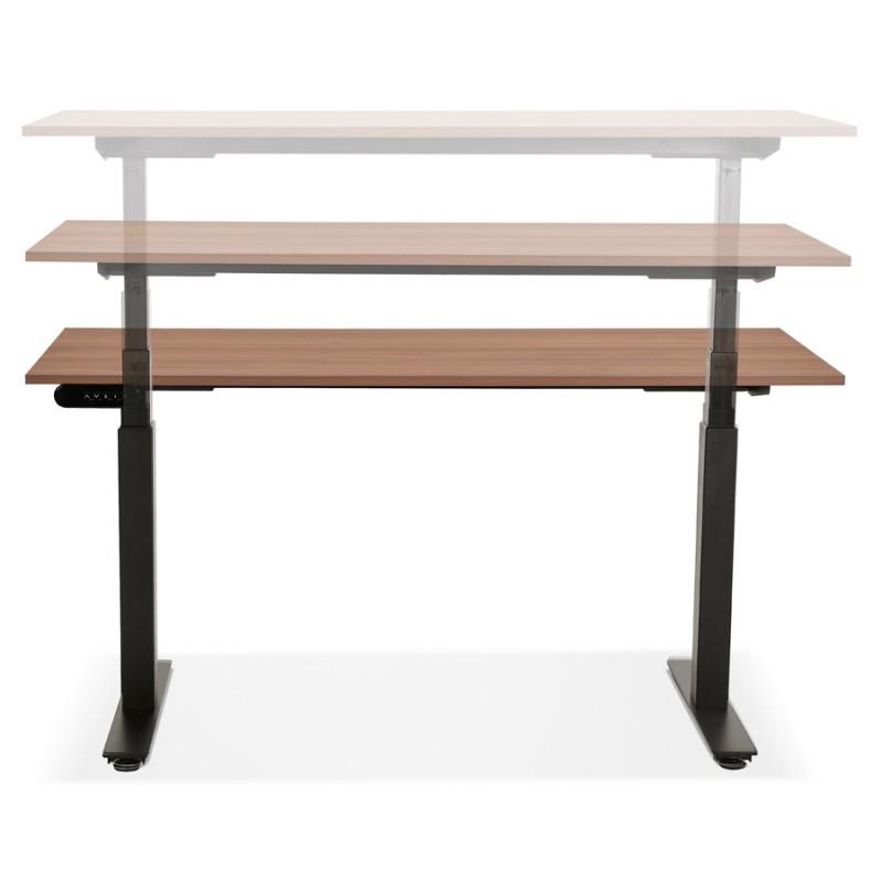 Bureau assis debout électrique en bois pieds noirs KESSY (140x70 cm) (finition noyer) - image 49813
