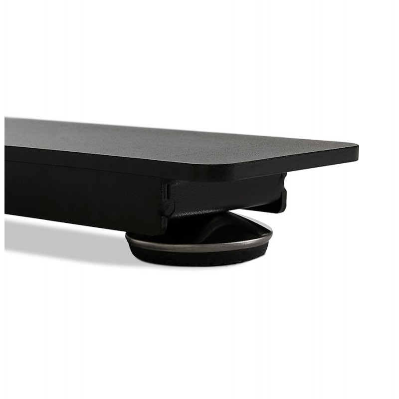 Bureau assis debout électrique en bois pieds noirs KESSY (140x70 cm) (finition noyer) - image 49817