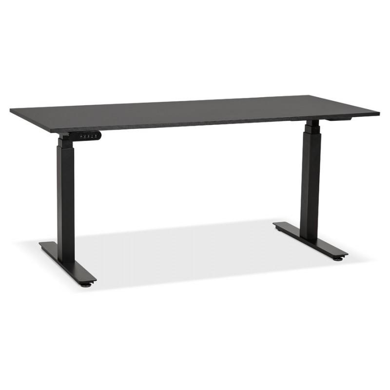 Bureau assis debout électrique en bois pieds noirs KESSY (160x80 cm) (noir) - image 49818