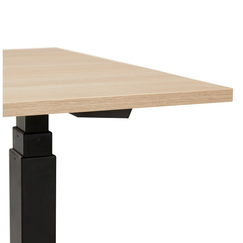 Bureau assis debout électrique en bois pieds noirs KESSY (160x80 cm) (finition naturelle) - image 49831