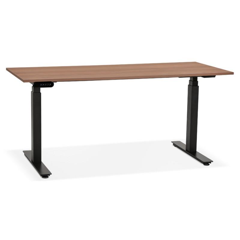 Bureau assis debout électrique en bois pieds noirs KESSY (160x80 cm) (finition noyer)