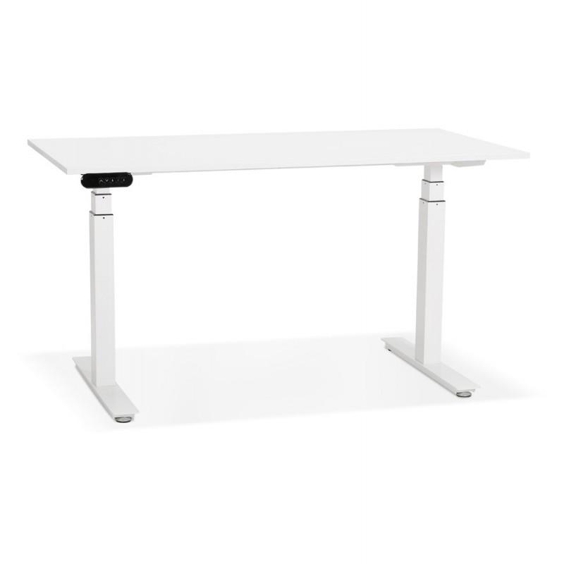 Bureau assis debout électrique en bois pieds blancs KESSY (140x70 cm) (blanc)