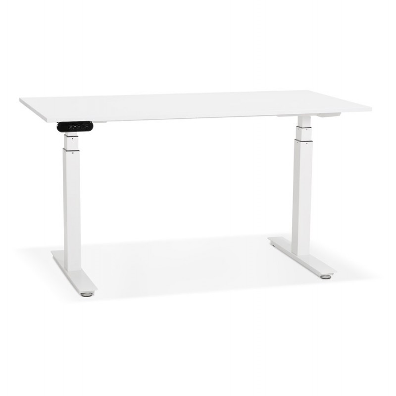 Seated standing electric wooden white feet KESSY (140x70 cm) (white)