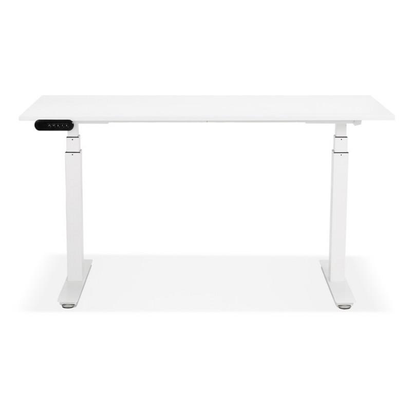 Bureau assis debout électrique en bois pieds blancs KESSY (140x70 cm) (blanc) - image 49844