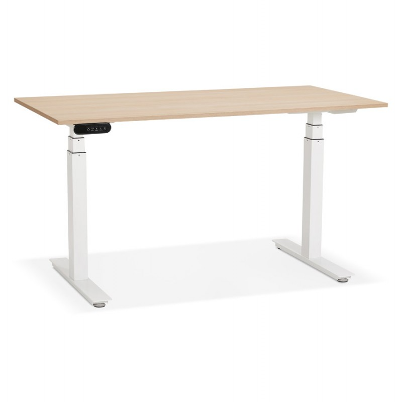 Seated standing electric wooden white feet KESSY (140x70 cm) (natural finish)