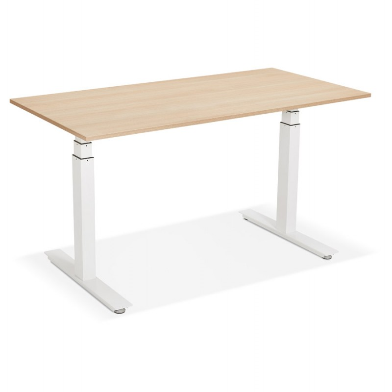 Bureau assis debout électrique en bois pieds blancs KESSY (140x70 cm) (finition naturelle) - image 49853