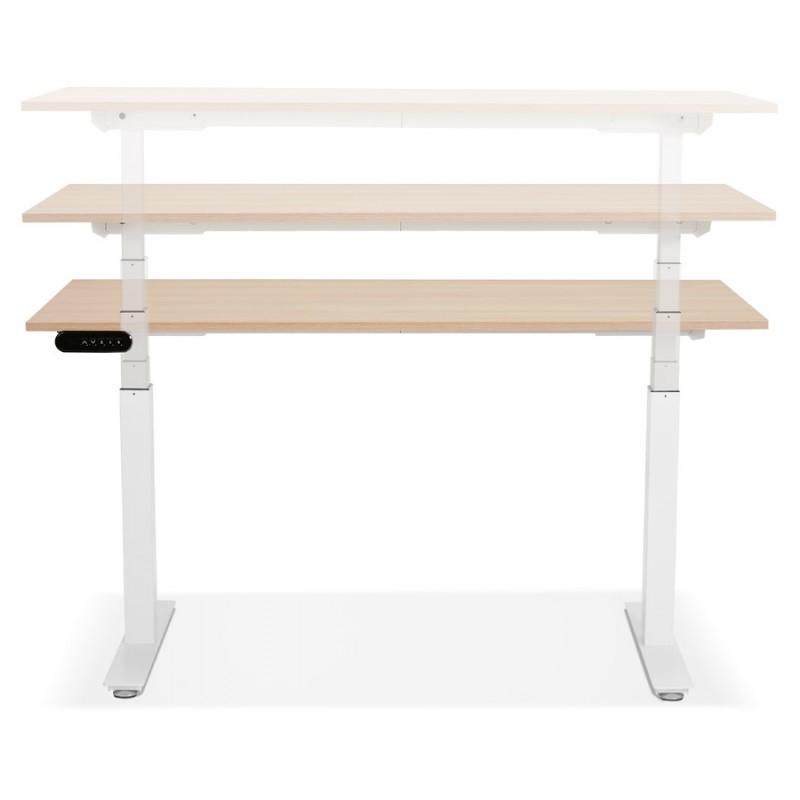 Bureau assis debout électrique en bois pieds blancs KESSY (140x70 cm) (finition naturelle) - image 49854