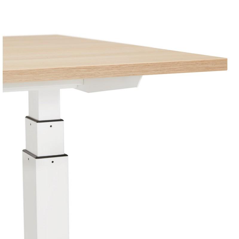 Bureau assis debout électrique en bois pieds blancs KESSY (140x70 cm) (finition naturelle) - image 49855