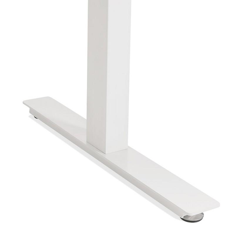 Bureau assis debout électrique en bois pieds blancs KESSY (140x70 cm) (finition naturelle) - image 49856